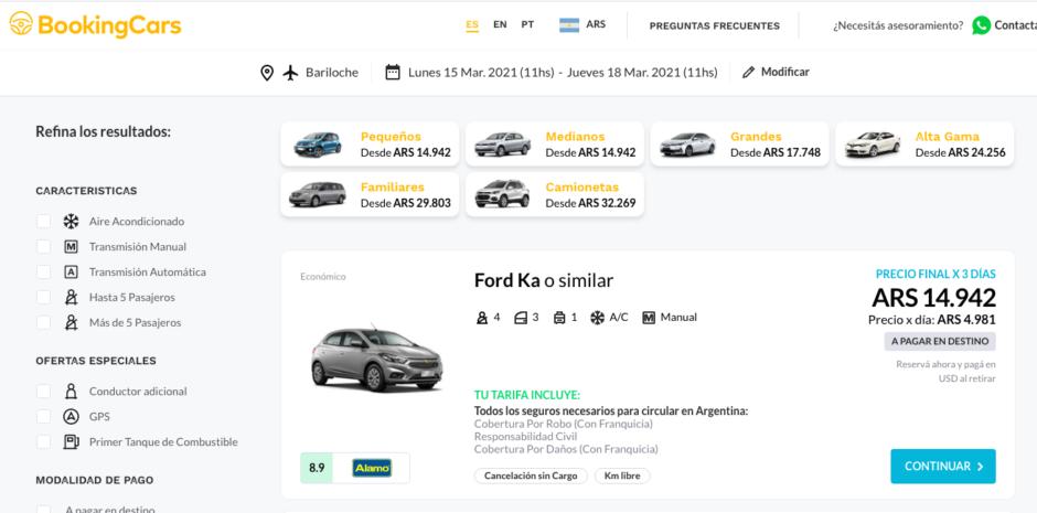 Cómo alquilar un auto en BookingCars