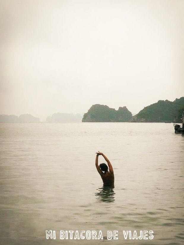 chapuzón en el mar