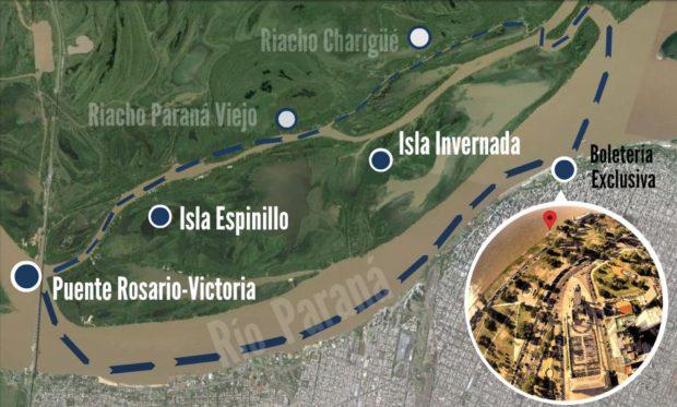 Rosario navegando por el Río Paraná